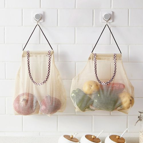 Storage Bag Fruit And Vegetable Garlic Onion Hanging Bag Fashionable Large Capacity PVC Kitchen & Home Kitchen Accessories