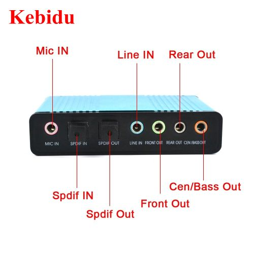 USB 2.0 Sound Card 6 Channel 5.1 Optical External Audio Card SPDIF Controller CM6206 Chipset For PC Laptop