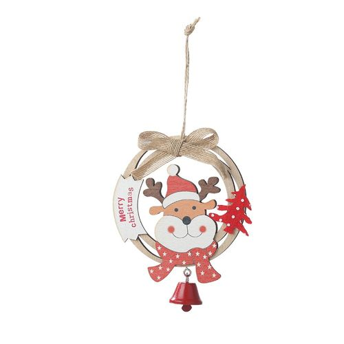 Wooden Ring With Bell Christmas Pendant Creative Ornament Tree Colorful