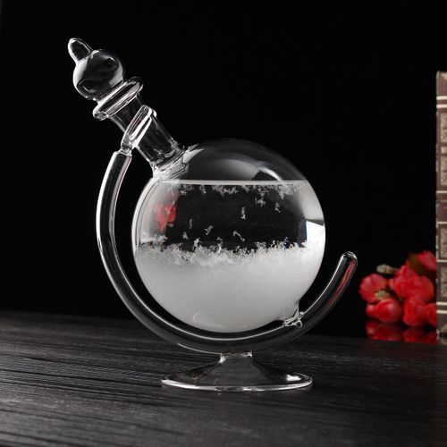 Weather Forecast Crystal Globe Shape Storm Glass Stand Ornament Home Decor