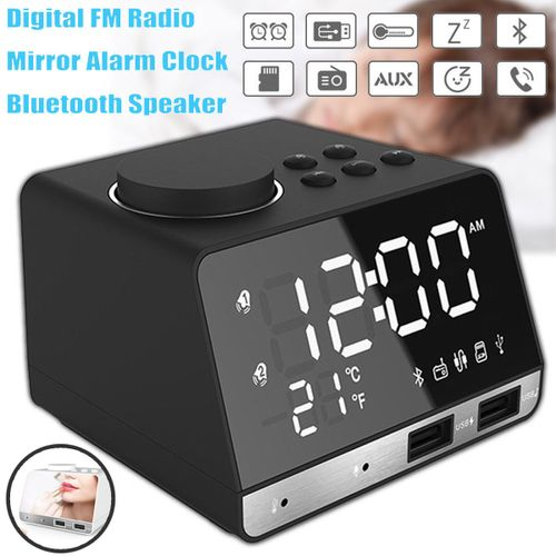 LED Dual Alarm Mirror Clock Wireless Bluetooth Bass Speaker + USB Port+FM Radio