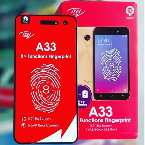 "A33 5.0"" Screen, Android 8.1, 16GB ROM + 1GB RAM, 2PCS 2200mAh Battery, Fingerprint, 5+2MP Camera 3G - Red + FREE CASE"