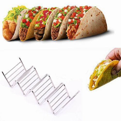 4 Hard Shells Wave Shape Stainless Steel Taco Stand Up Holders Mexican Food