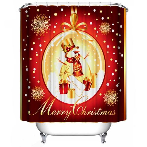 Dtrestocy Custom Merry Christmas Fabric Waterproof Bathroom Shower Curtain 72 X 72