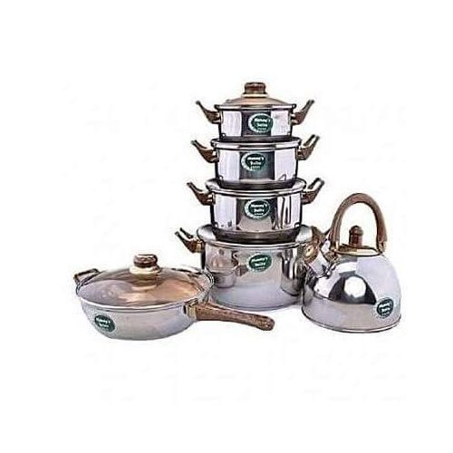 Set Of 6 Cooking Pot, Fry Pan And Kettle