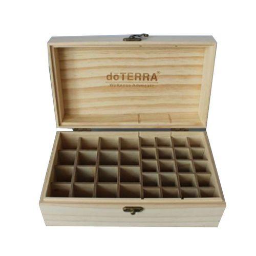 Modern Design 36 Slots Wooden Essential Oils Box Solid Wood Case Holder Wood Color
