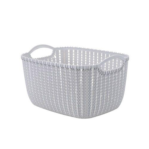 Plastic Rattan Basket For Home Durable Multi-functional Grey