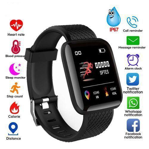 Smart Watch Heart Rate Monitor Fitness Tracker Watch-Black