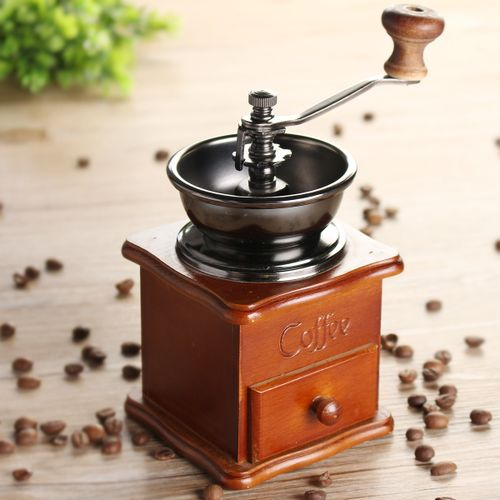Retro Stainless Manual Coffee Bean Grinder Wooden Nut Mill Hand Grinding
