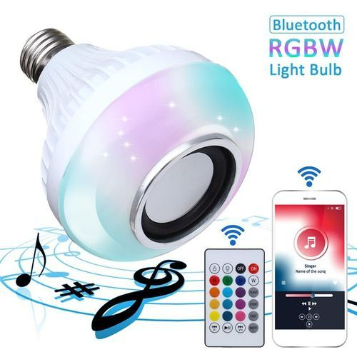 E27 LED RGBW Wireless Bluetooth Light Bulb Music Playing Remote Controller