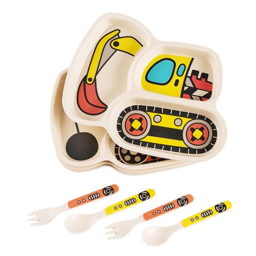 Kids Meal Set,3-Piece Set For Toddlers Plate Fork And Spoon