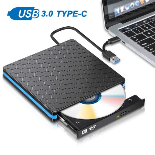 External DVD & USB Type C CD Drive Dual Port DVD-RW Player Burner Writer