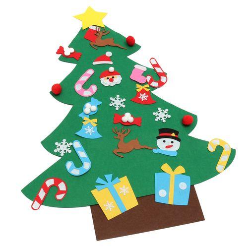 Felt Christmas Tree Set Kids DIY Xmas Gifts Xmas Wall Hanging Decor Art Craft
