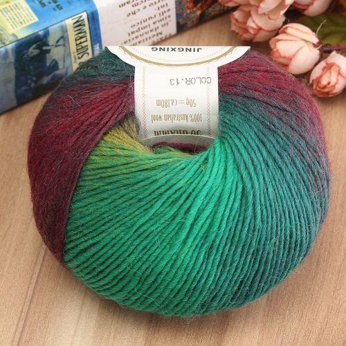 50g Soft Chunky Knitting Crochet Yarn 100% Fine Wool Ball Colorful Craft Yarn-13
