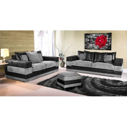 Summer 7 Seaters Leather And Fabric Sofa. Black And Ash Colour.Order Now And Get OTTOMAN Free (DELIVERY ONLY IN LAGOS)
