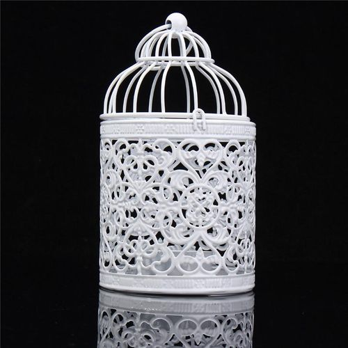 Unique Hollow Flower Bird Cage Candle Holder Tealight Candlestick Decorative Hanging Lantern Ornaments For Home Wedding (Type B)
