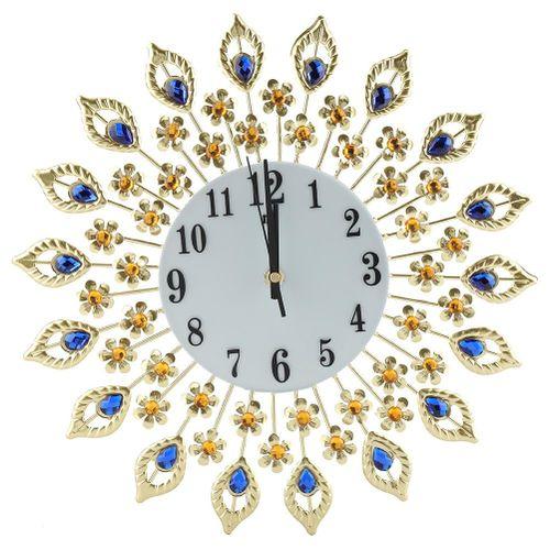 Creative Iron Clock European Style Flower-Shaped Wall-mounted Mute Clock Diamond Hanging Wall Clock