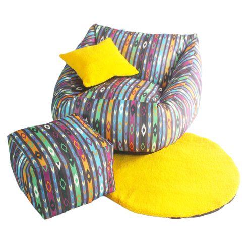 Beanbag Lounger, Foot Rest & Rug - Multicoloured