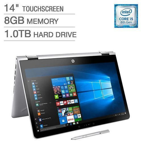 """Pavilion X360 14 Inches"""" Intel Core I5, 1TB / 8GB, + 16GB Optane Memory, Backlit Keyboard TOUCHSCREEN Free Mouse"""
