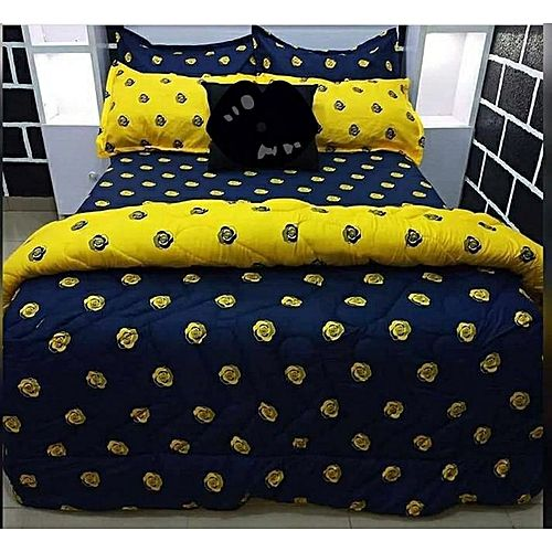 Blue And Yellow Duvet, Bedsheet And 4 Pillow Cases