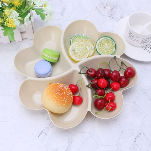2Pcs Partitioned Heart Snack Plate (cream)