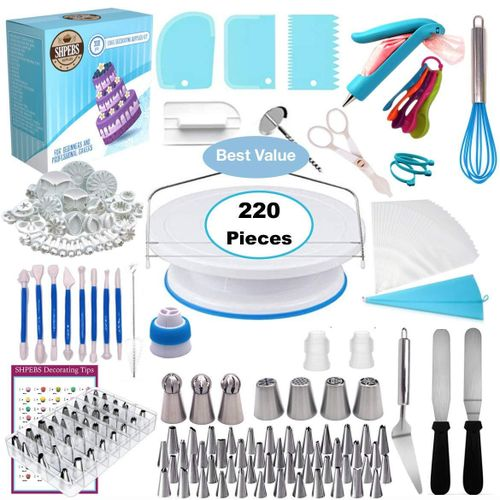 220 Pcs/set Cake Turntable Piping Tip Nozzle Pastry Bag Set