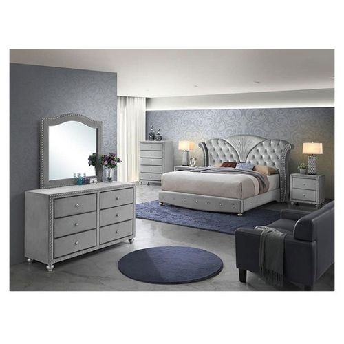 Oxperome Crystal Luxury Bed+2 Drawers+Mirror Combo.