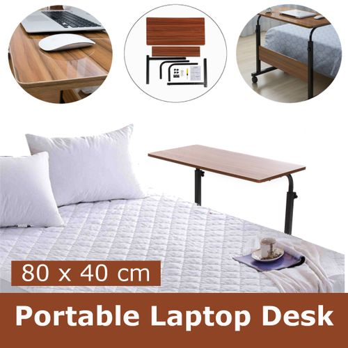 Adjustable Table Laptop Desk Computer Mobile Portable Office Stand Work Brown ~