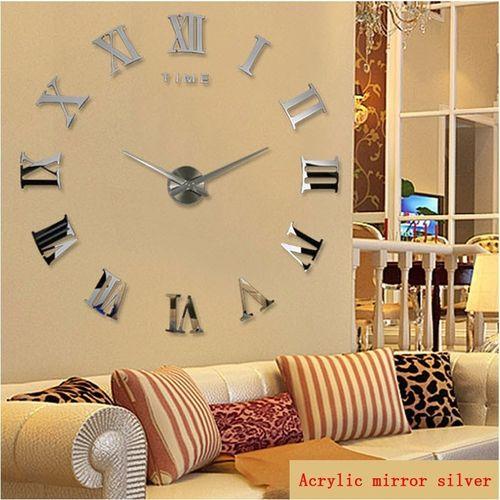 2018 New Home Decoration Quartz Metal 3d Mirror DIY Wall Clock (silver)