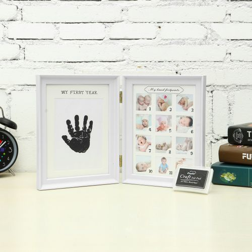 Newborn Baby Footprint Handprint Photo Picture Frame First Year 12 Month Record