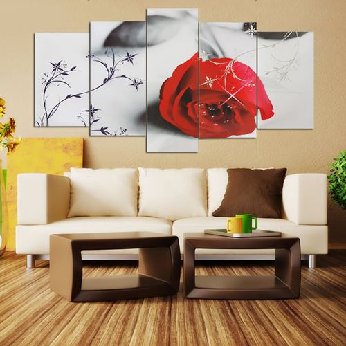 Modern Red Rose Art Canvas Oil Painting Picture