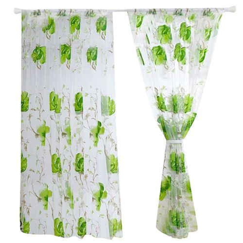 Dtrestocy Floral Vines Leaves Tulle Door Window Curtain Drape Panel Sheer Scarf Valances D