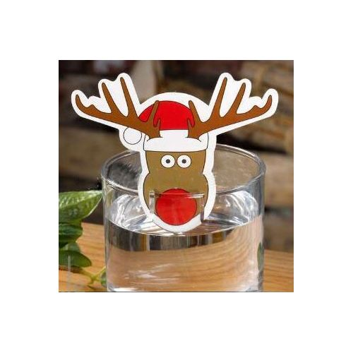 10pcs Christmas Decorations Wine Glass Paper Cards Santa Claus Elk Christmas Tree Ornaments New Year Party Supplies