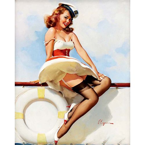 Pin-Up Girl 40X50cm Sailor 1970S Gil Elvgren Canvas Picture