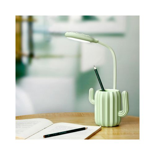 LED Cactus Pen Holder Table Light Adjustable USB Rechargeable Touch Bright Lamp