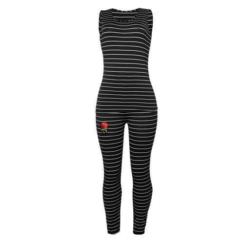 Women 2 Piece Fitness Yoga Gym Sportswear One Size - Black And White