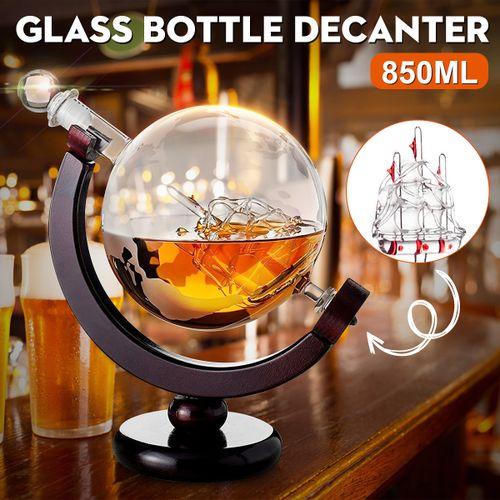 Glass World Novelty Globe Decanter Vodka Whisky 850ml Wine Spirit Fathers Day