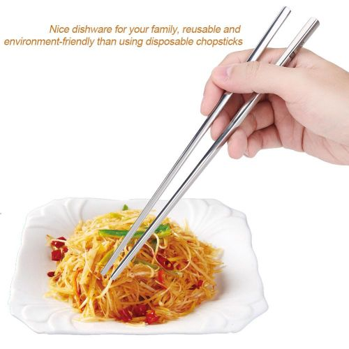 1 Pair Food Grade Stainless Steel Hollow Square-shaped Chopsticks Home Kitchen Ware Gift