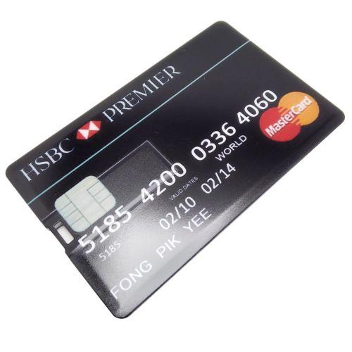 USB Flash Drive 8G/16G/32G/64G/128G HSBC60 Bank Card Model Memory Stick Black