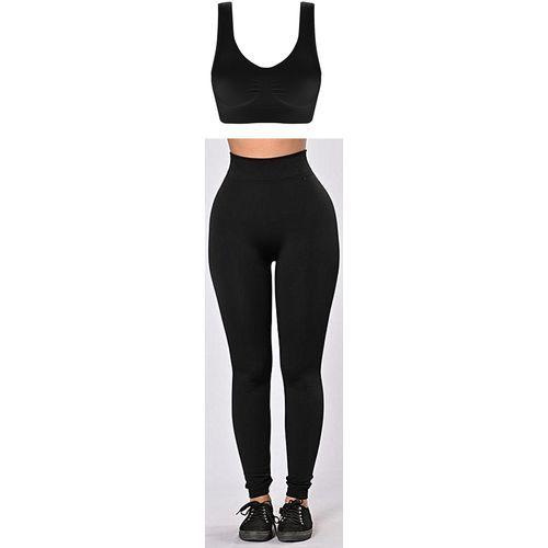 Bra Top + High-Waist Leggings - Black