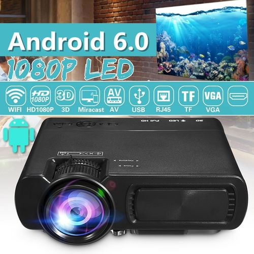 7000 Lumens 1080P Full HD Mini Projector Wifi Bluetooth Home Theater Android 6.0