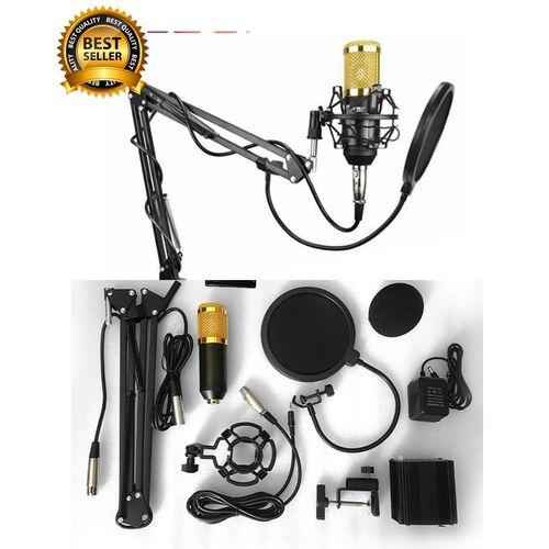 Premium Quality BM800 Studio Condenser Microphone Network Karaoke With Special Bracket,Power Supply,Pop Filter(Complete Set)/Studio Recording Condenser Microphone .BLACK
