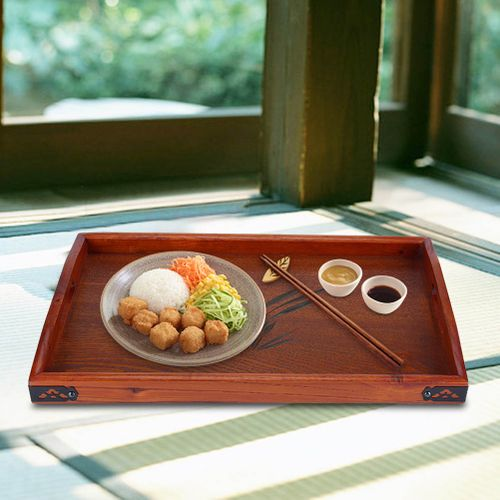 Large Wood Serving Tea Water Drinks Tray Wooden Breakfast Tea Serving Tray With Handle