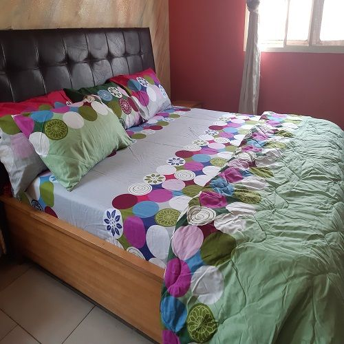 Duvet And Bedsheet-Lemon Green Pattern