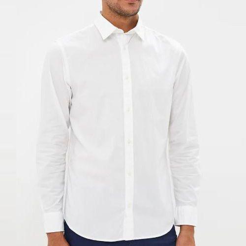 Mens Poplin LS Shirt - White