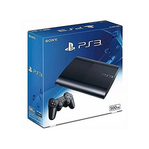 PS3 Super Slim - 500GB + 17 Games Such As Fifa 19, Pes 19, Gta V, M.K With 2 Pad Controller