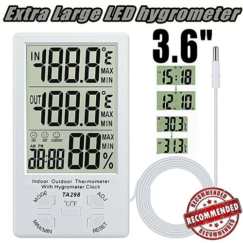 Extra Large LCD Digital Indoor Outdoor Hygrometer Humidity Thermometer Temperature Meter