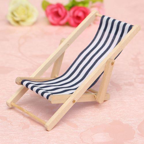 Foldable Dolls House Miniature Wooden Deckchair Beach Chair 1:12 Christmas Gift