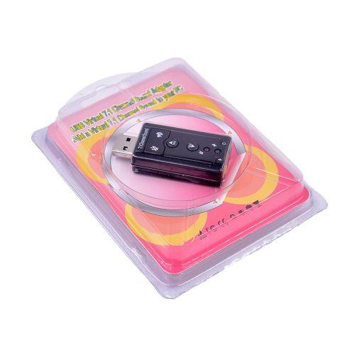 External Usb 7.1 Channel Independent Analog Computer Sound Card Adapter Black