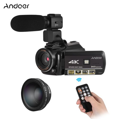 """AC3 4K UHD 24MP Digital Video Camera Camcorder DV Recorder 30X Zoom WiFi Connection IR Night Vision 3.0"""" LCD Touchscreen With Extra 0.45X Wide Angle Lens + External Microphone"""